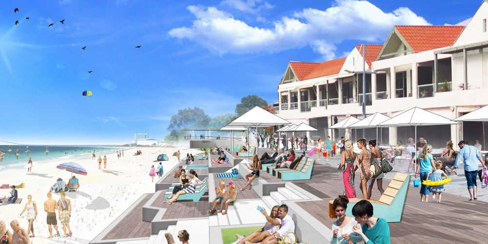 An artist's imrpession of the what the Rockingham foreshore will look like after the revitalisation.