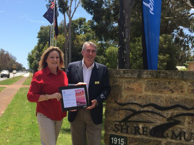 Murray MLA Robyn Clarke and Murray Shire president David Bolt with the funding cheque.