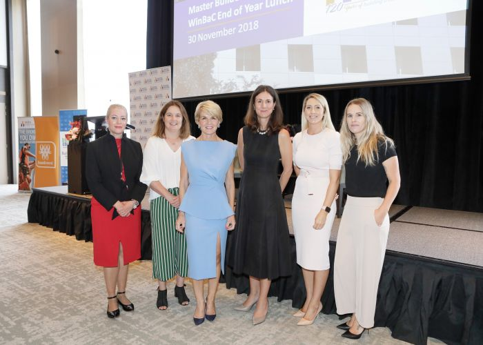 Bankwest chief operating officer Shari Cosgriff (left), Master Builders Board member Isla McRobbie, Curtin MHR Julie Bishop, CEOs for Gender Equity executive director Tania Cecconi, Cbus Super Fund strategic manager Kirsten Beck and Master Builders apprentice of the year Aly Harper at the lunch
