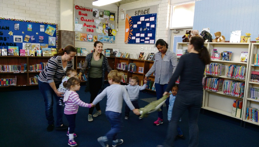 Children enjoying the Tales for Tots program at Newton Primary School.