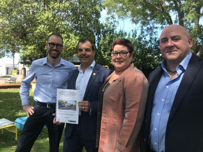 Inglewood on Beaufort chair Damien Giudici, City of Stirling Mayor Mark Irwin, Maylands MLA Lisa Baker and Curtin University's Paul Cozens. Picture: Jessica Warriner.