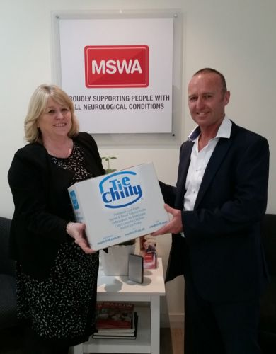 MSWA's Sue Shapland and Tie Chilly director Gary Maynard.
