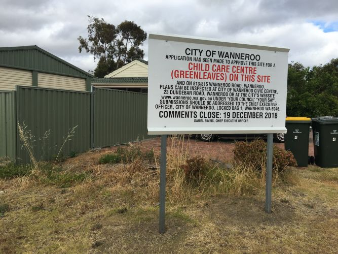 The site of the proposed Green Leaves Early Learning Centre in Wanneroo.