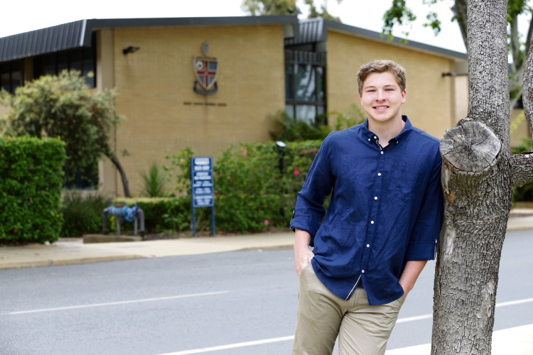Stanley McFarlane (17) was just 15 years old when he performed CPR on a woman who had collapsed outside Christ Church Grammar School. Picture: Andrew Ritchie www.communitypix.com.au   d489253a
