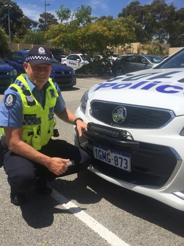 Joondalup Police acting senior sergeant Chris Newman ready for the anti-theft screws fittings.