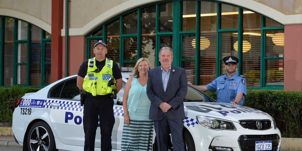 Sergeant Mike Nardini, Deputy Mayor Deb Hamblin, Mayor Barry Sammels and Sergeant Richard Wells encourage residents to join in the Road Ribbon for Road Safety campaign over the holiday period. Picture: City of Rockingham.