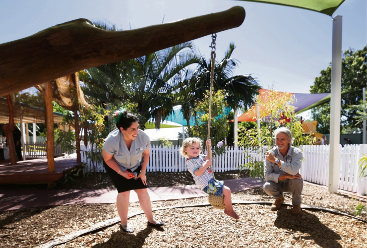 Landsdale Early Learning and Enrichment Childcare Centre education leader Denise McCrory, Corbin Mitchell (2) and Nature Based Play director Terry Farrell. Picture: Martin Kennealey.