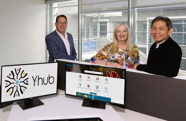 City of Wanneroo Mayor Tracey Roberts with City of Wanneroo CEO Daniel Sims (left) and Yanchep Beach Joint Venture chief executive Gin Wah Ang.