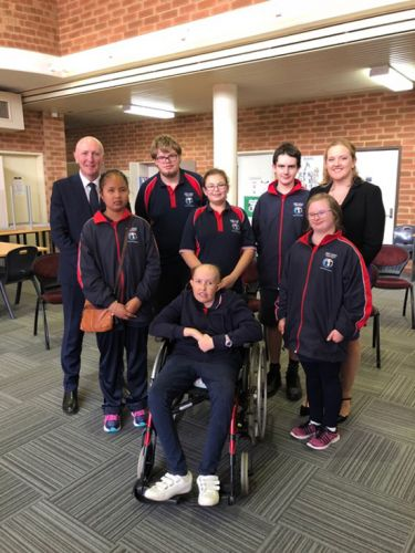 Environment and Disability Services Minister Stephen Dawson and Kingsley MLA Jessica Stojkovski with West Coast Secondary Education Support Centre students.