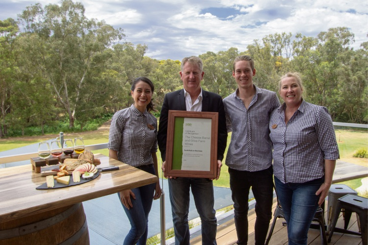 The Cheese Barrel and Olive Farm Wines venue and communications manager Mariane Bornelli, Swan Deputy Mayor Kevin Bailey, The Cheese Barrel waste warrior and team leader Jordan Kuchel and operations manager Sarah Howlett.