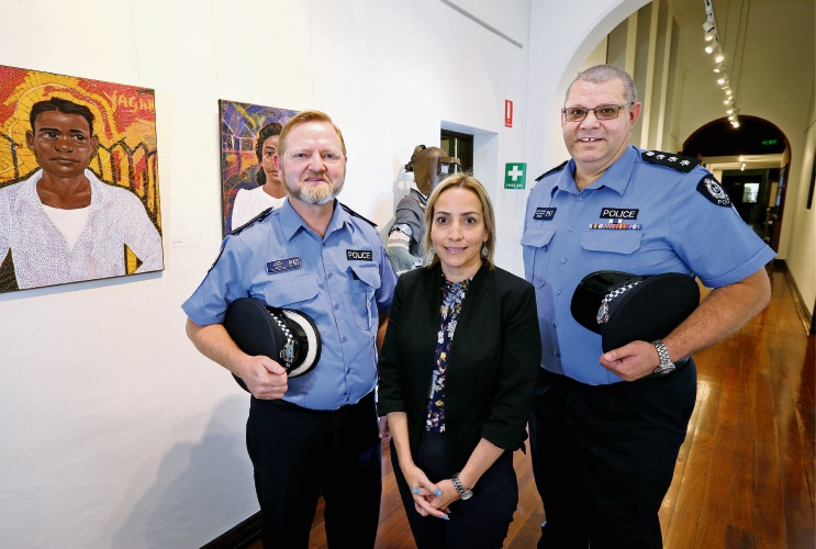 L-R: Acting Superintendent Mark Ninyett, Corelee Heesemans (Project Manager, Aboriginal Affairs Division) and Acting Inspector Geoff Regan, seen here at Midland Junction Arts Centre, which is the location for the Midland sessions. Photo: Dave Baylis
