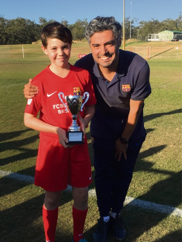 Kayla O'Connor and Barça Academy Brisbane Technical Director Mr Taher Mortezaie.