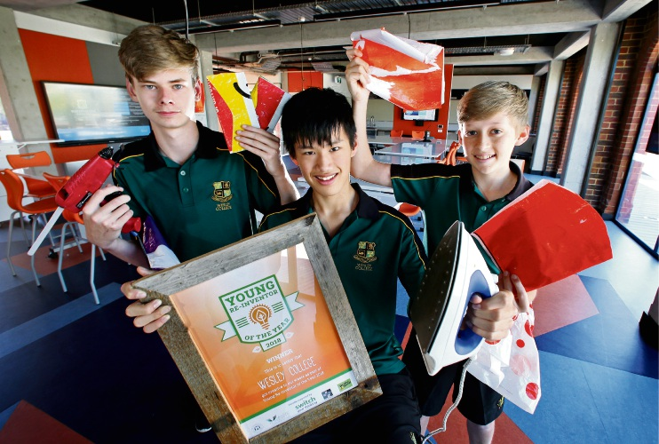 Oliver Welland (15), Christopher Jongue (15) and Travis Godfrey (14) with their 'Relope' invention. Picture: David Baylis