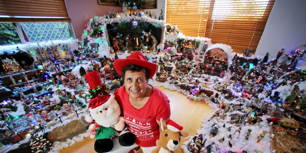 Helen Moniodis of Walliston with her Christmas display featuring hundreds of her Christmas nativity collectibles and scenes. Picture: David Baylis.