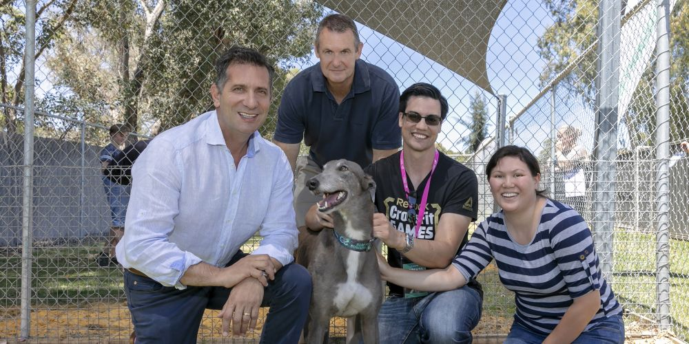 Greyhound Lorenzo with Minister of Racing and Gaming Paul Papalia, Racing and Wagering WA chief executive Richard Burt and Mark and Michelle Wheeler. Picture: Kelly Pilgrim-Byrne