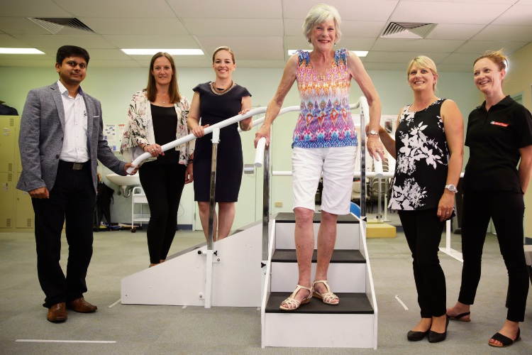 Respiratory physician Dr Hari Adoni, Sue Lee (WAPHA), Elisabeth Johns (Joondalup Health Campus), patient Veronica Tucker, Louise Papps (Silver Chain) and Kirsty Tilden (Silver Chain). Picture: Martin Kennealey.