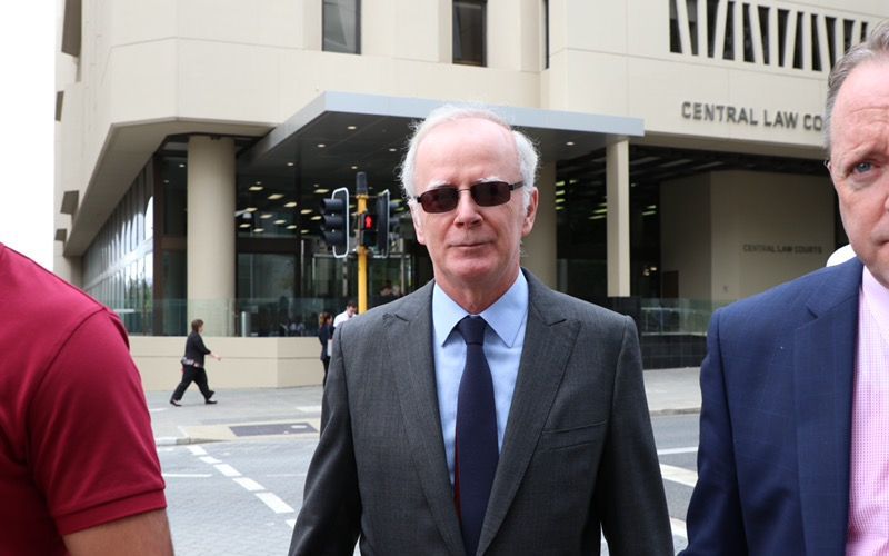 Father Joe Walsh outside Perth Magistrates Court this morning. Pictire: Anton La Macchia