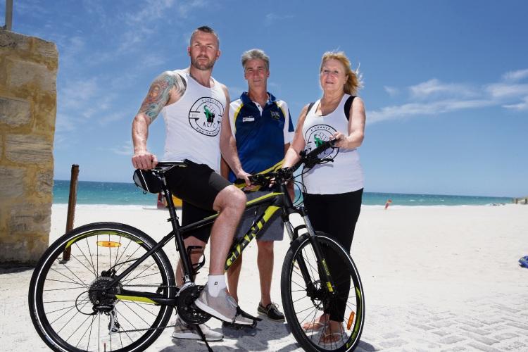 David Graden (Connolly), Craig Bull (director Mullaloo Surf Life Saving Club) and Irene Strange (Ocean Reef). Photo: Martin Kennealey