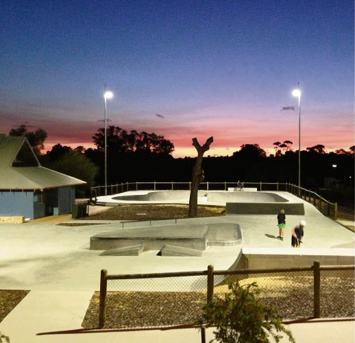 Wanneroo Skate Park all lit up.