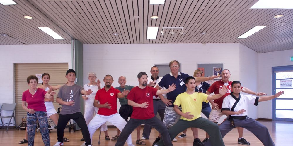 The tai chi class in action at Loftus Community Centre in Leederville.