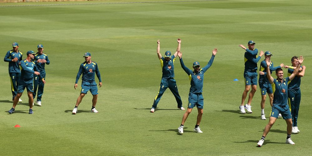 The Australian team is currently in Perth warming up at the WACA ahead of the Second Test match in the series with India. Picture: Paul Kane/Getty Images