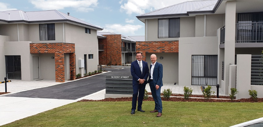 Housing Minister Peter Tinley (left) and Dale Alcock at the new Spearwood development.