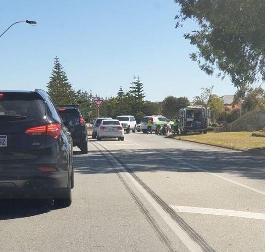 Cyclist hit by car in Halls Head