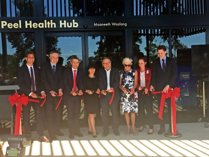 Mayor Rhys Williams, Senator Mathias Cormann, Health Minister Roger Cooke, GP down south chief executive Amanda Poller, Mandurah MLA David Templeman, former Peel Health Campus chief executive Ann Fletcher, Lucy Westcott from Lotteries West and Canning MRH Andrew Hastie at the ribbon cutting.