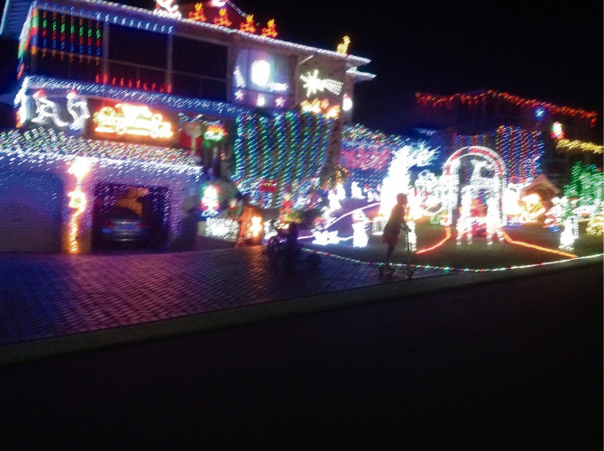 Christmas light displays in Samson Court, Duncraig are raising money for Wheelchairs for Kids.
