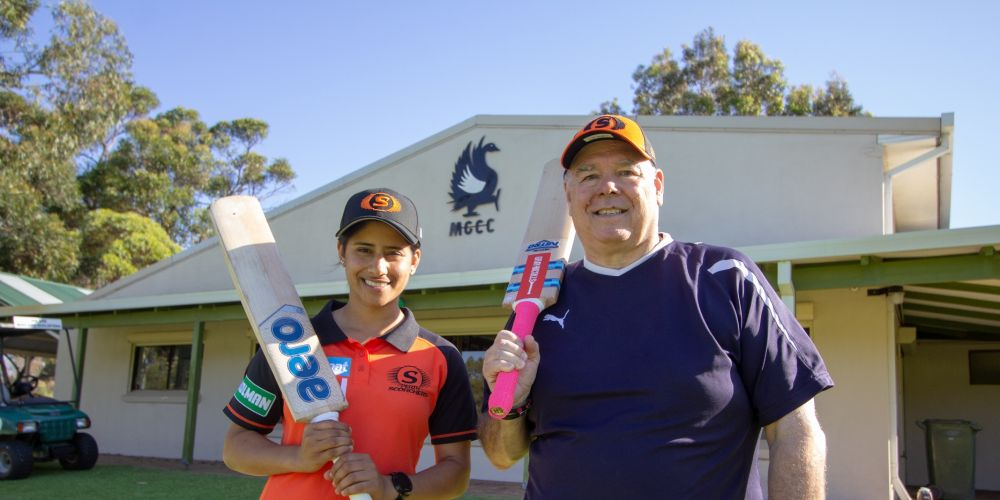 Scorchers all-rounder Bhavi Devchand and Swan Mayor David Lucas looking forward to this summer's WBBL cricket at Lilac Hill.