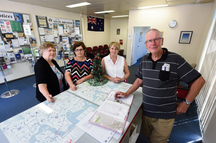 Garden City Community Information Centre volunteers Maureen Pallot, Cathy Grasso, coordinator Elaine Buchan and volunteer Terry Nodwell bid farewell to the centre. Picture: Jon Hewson.