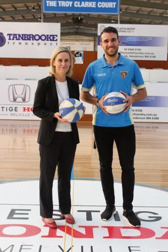 Fremantle MLA Simone McGurk and Cockburn Basketball Association general manager Tyrone Thwaites.