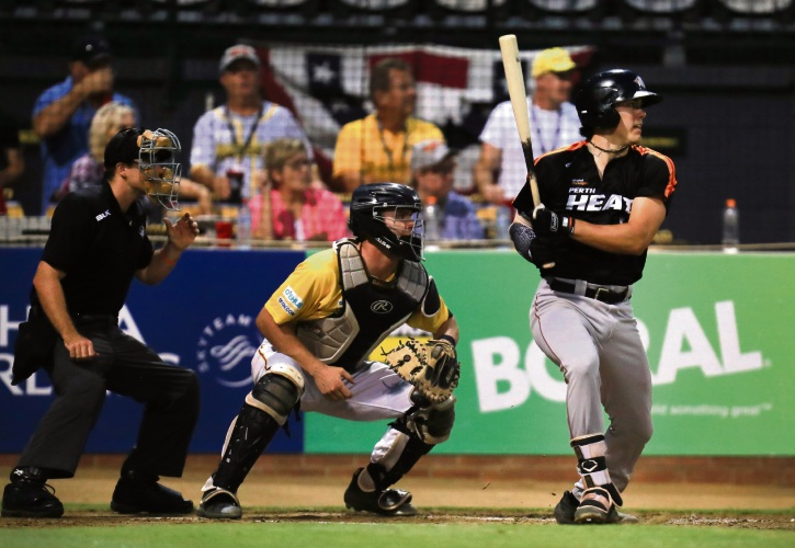 Tristan Gray's ninth inning home run put the Heat on top for good against the Bandits in game one. Photo: SMP Images