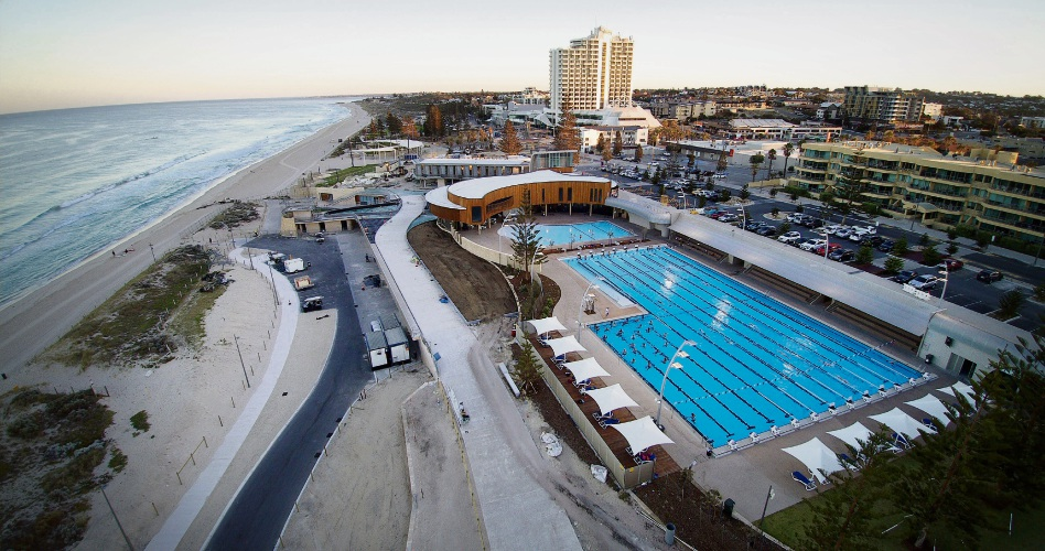 Scarborough Beach Pool as seen by drone. Photo: Andrew Ritchie