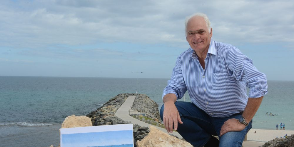 Trevor Saleeba is perplexed by the council's attitude to his ocean pool proposal south of Cottesloe Groyne. Picture: Jon Bassett.
