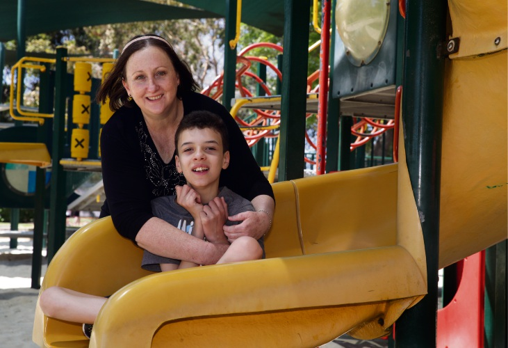 Michelle O'Brien (Stirling) with her son Caleb (13).