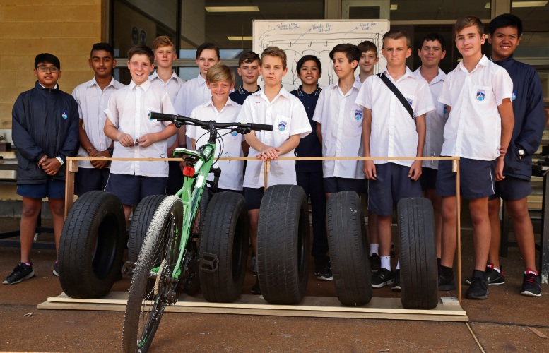 Bike Footprint Tribe-year 7 students with their bike rack. All photos: Martin Kennealey