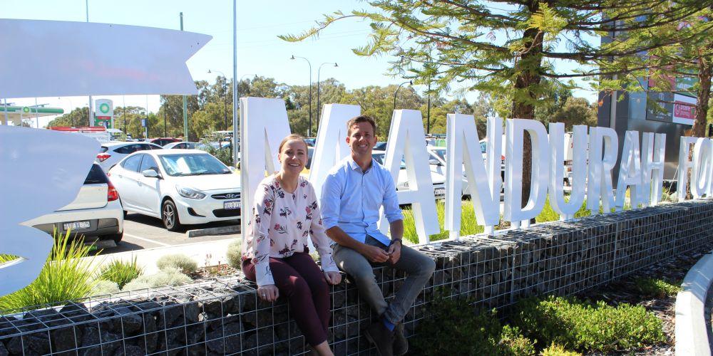 Centre manager Jacqueline McKenzie and Mayor Rhys Williams at Mandurah Forum.
