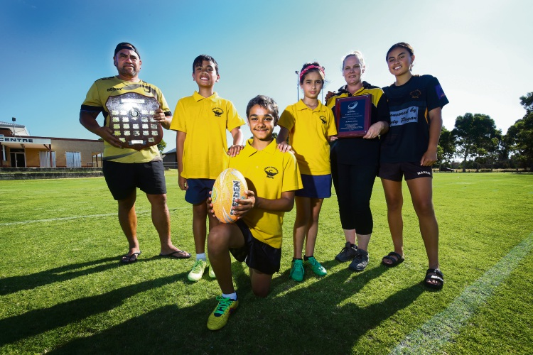 Club President Kehu Kingi, Under 11s players Wairakau Parata-Kingi, Rashad Clinch with Trinity Andri with Under 16s player Hope Parata-Kingi and Rebecca Voice Picture: Matt Jelonek www.communitypix.com.au   d489530