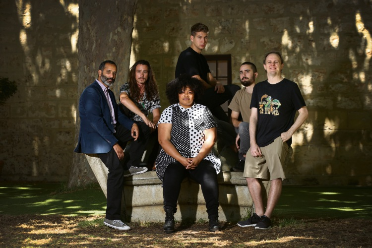 Jon Fernandes (Odette Mercy and the Soul Atomics), Cameron Charles (Bambuseae Rhythm Section), Odette Mercy (Odette Mercy and the Soul Atomics), Matt McGlynn (Grievous Body Clam), Alex Reid (Grievous Body Clam) and Mat Cheeky (Sunshine Brothers) will be performing at the Fremantle Arts Centre New Years concert. Photo: Andrew Ritchie. d489662 communitypix.com.au.