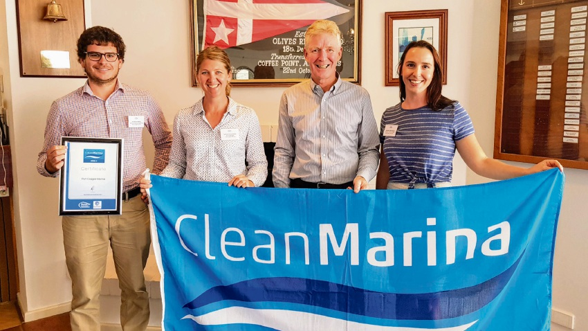 Jonathan McKay and Samantha Standish from Port Coogee Marina, Colin Bransgrove and Adelaide Bevilaqua from environmental consultant group BMT Western Australia.