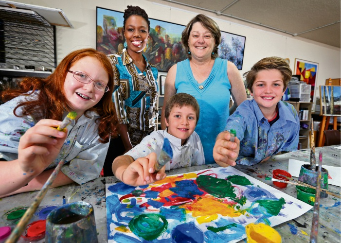 BACK L-R: Mukami Ireri (New owner, Galleria Art Studio) and Mixed Media artist Karen Frankel (Founder, Galleria Art Studio).  FRONT L-R: Jamie Druyan (11) of Morley with Luca (7) and Noah (10) Ortin Sieczka of Morley.  Mukami is the new owner and teacher at the Galleria Art Studio.  She is a highly experienced school art specialist who will bring her passion and expertise to the studio from January 2019. Picture: David Baylis www.communitypix.com.au   d489646