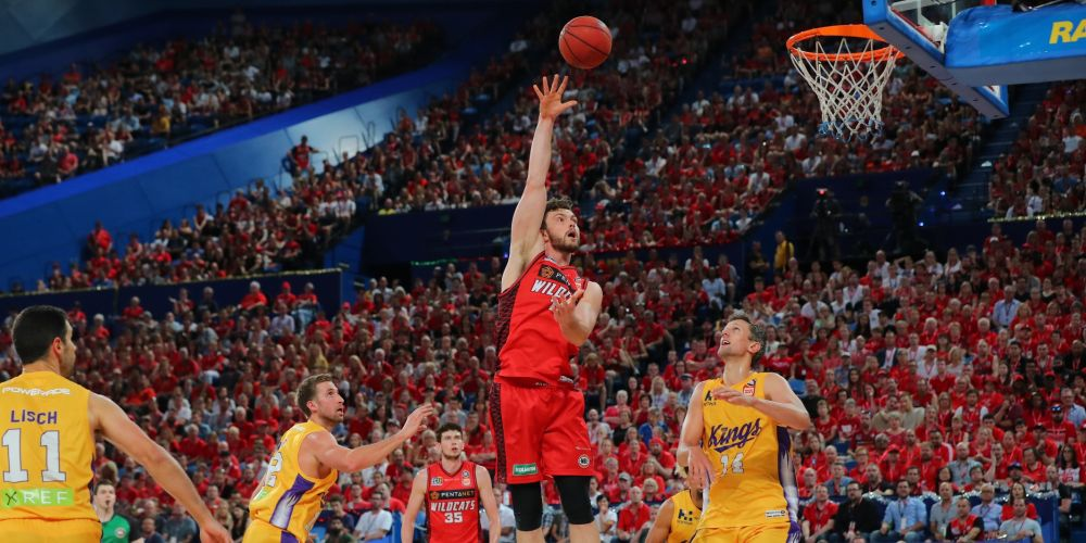 Angus Brandt goes with a hook shot against the Sydney Kings. Picture: Getty