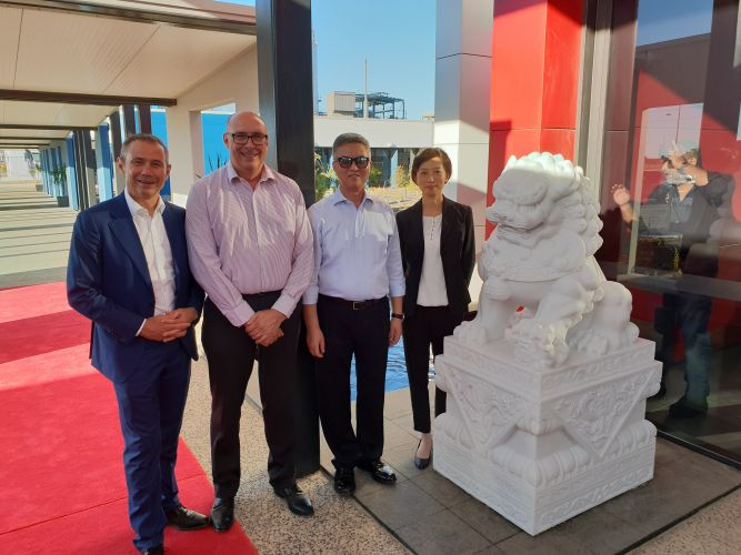 Kwinana MLA Roger Cook, Tianqi Lithium general manager Phil Thick, chairman Jiang Weiping and president Vivian Wu.