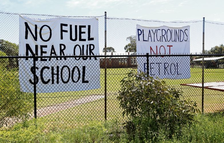 Eden Hill Primary School parents protested over a proposed petrol station, which was ultimately refused. Picture: David Baylis d487758