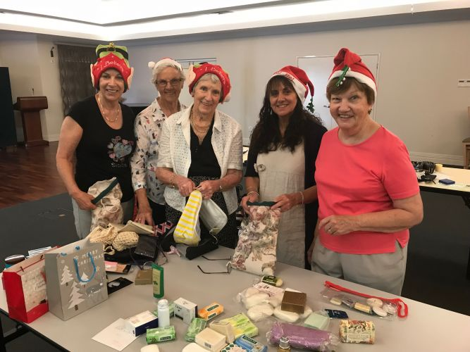 Betty Lewis, Sylvia Shaw, Claire Green, Doris Howe and Jan Hankins. Bethanie on the Park has donated 35 bags of useful and special items to women in need this Christmas. Photo: Supplied.
