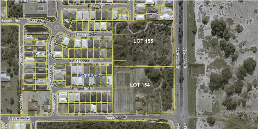 A location plan for commercial lots in Landsdale that are near the Perth International Telecommunications Centre.