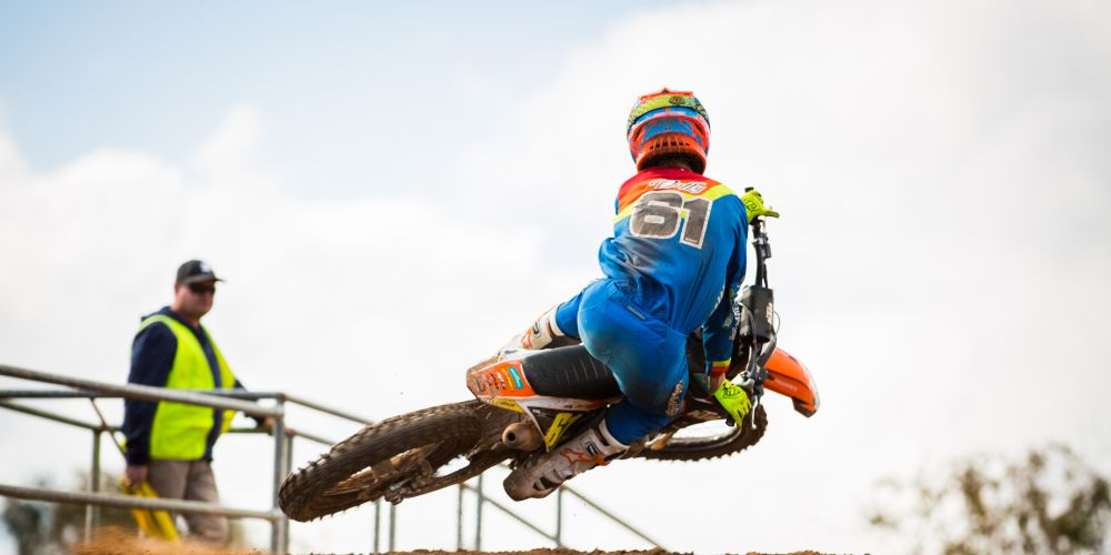 Regan Duffy earlier this year preparing for the World Junior Motocross Championships. Picture: Jack Foley