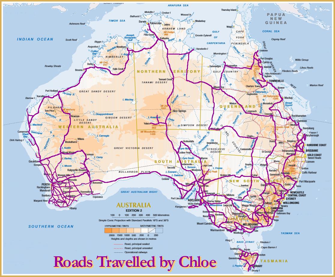 Map Around Australia.Joondalup Resident And Dog On Motorbike Travel 190 000km Around