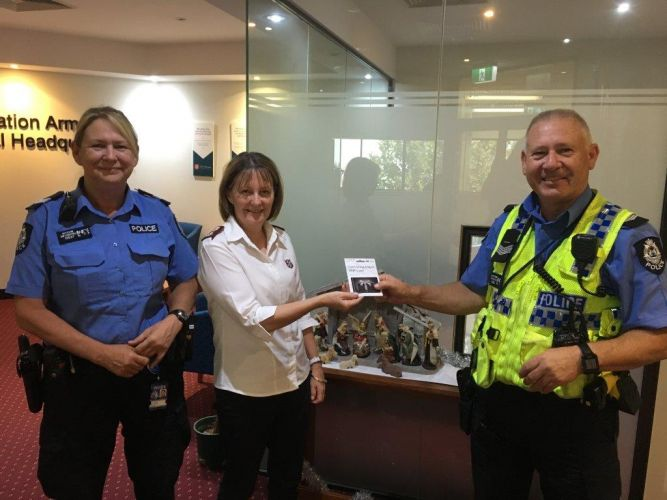 Senior Constable Ritchie, Major Lyn Friend from the Salvation Army and Senior Constable Brown. Picture: Supplied.
